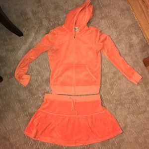 Juicy Couture orange skirt set